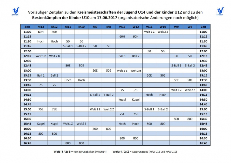 Zeitplan Kreismeisterschaften 2017
